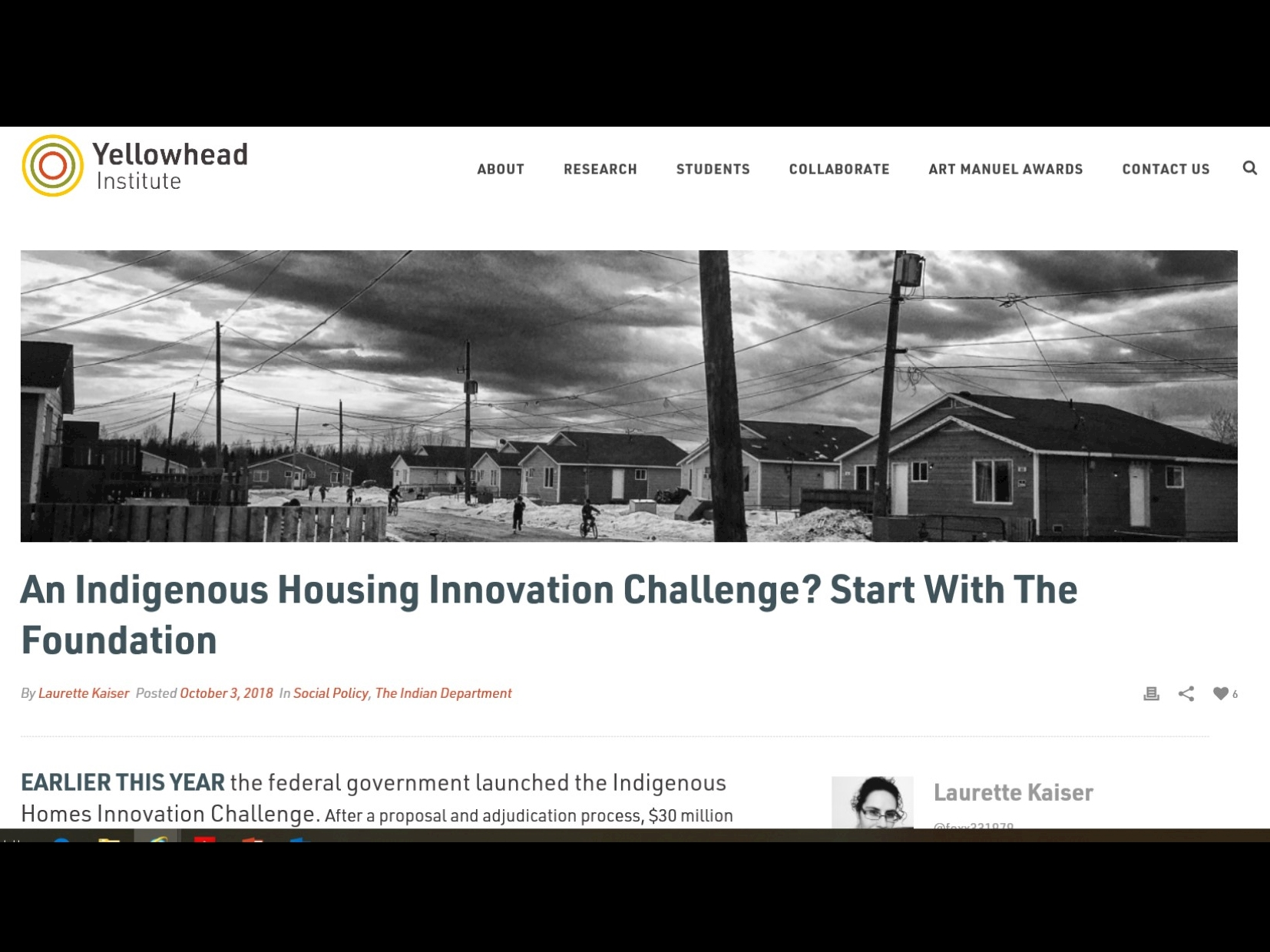 An Indigenous Housing Innovation Challenge? Start with the Foundation