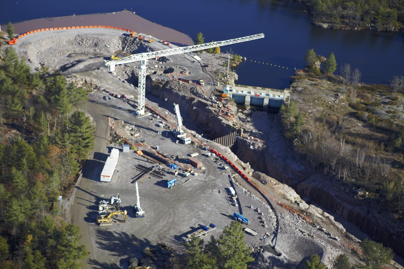 Construction of the Okikendawt 10MW hydro project, jointly owned by Dokis First Nation and Hydromega.